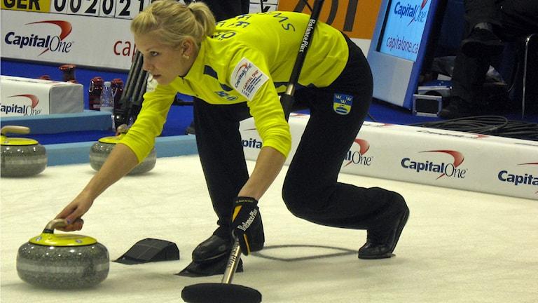 den svenska curlingspelaren Cicci Östlund. Foto: Paul Zyra/SR