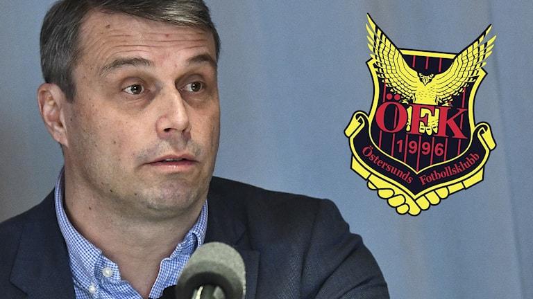 Daniel Kindberg och ÖFK-loggan.