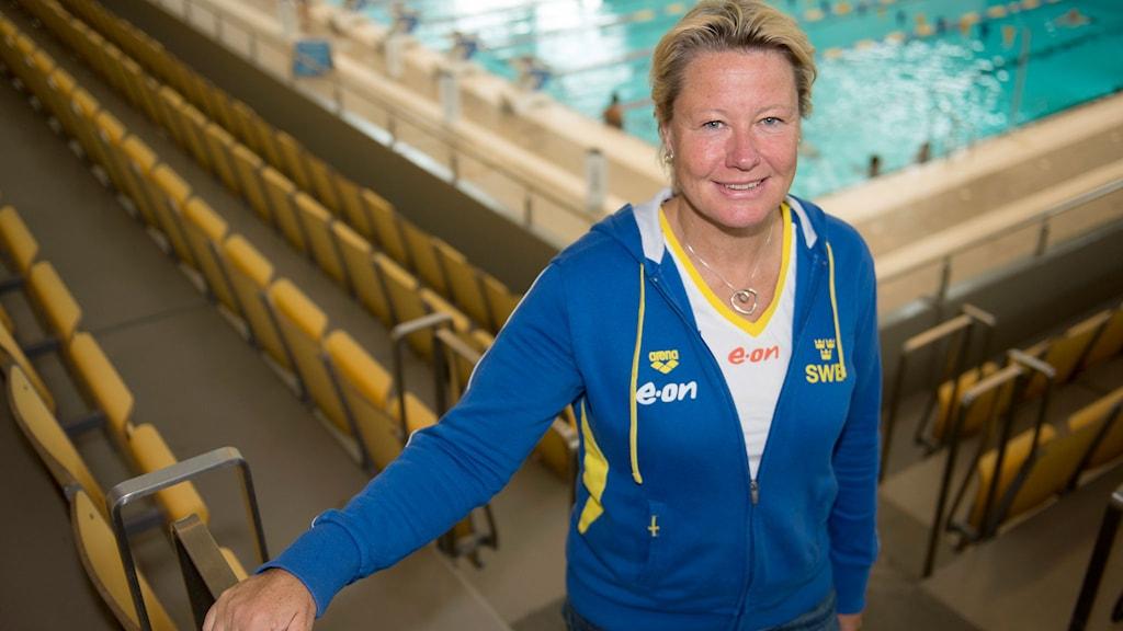Förbundskapten Ulrika Sandmark i Eriksdalshallen. Foto: Maja Suslin/TT