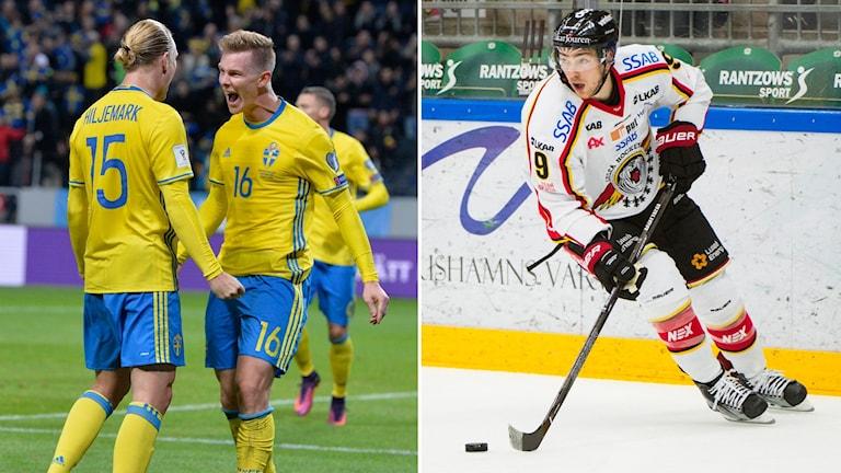 Sveriges herrlandslag i fotboll och Luleås Johan Forsberg.