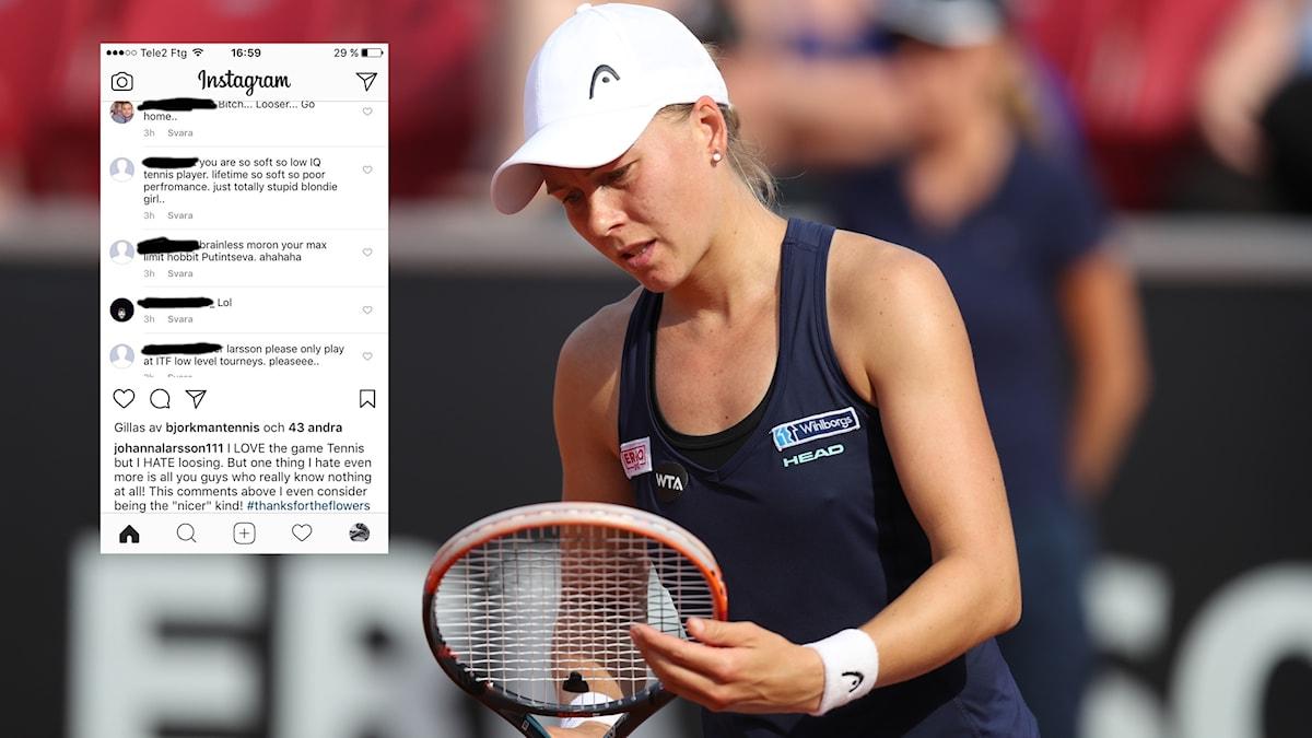Flera användare i sociala medier har uttryckt sig hatiskt mot Johanna Larsson.