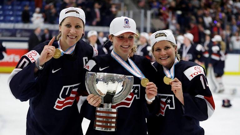 Delar av USA:s ishockeylandslag.