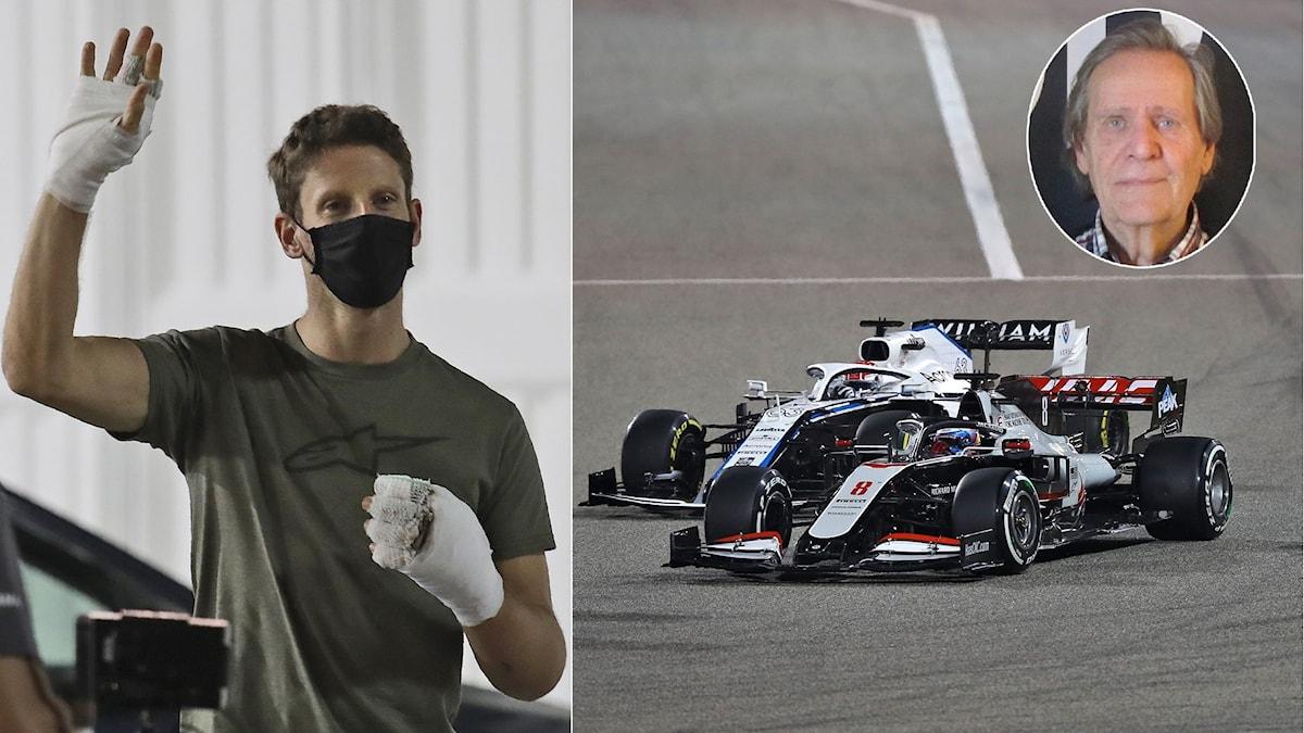 F1-collage Romain Grosjean Fredrik af Petersens. Foto:  Kamran Jebreili, Tolga Bozoglu/TT och SR