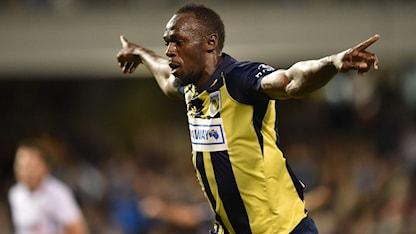 Usain Bolt har nu gjort ett mål som fotbollsproffs.