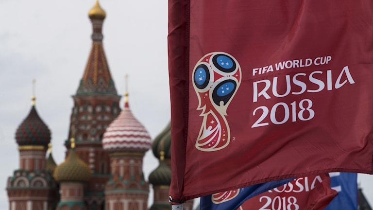 Fotbolls-VM 2018 i Ryssland logga. Foto: Pavel Golovkin/TT