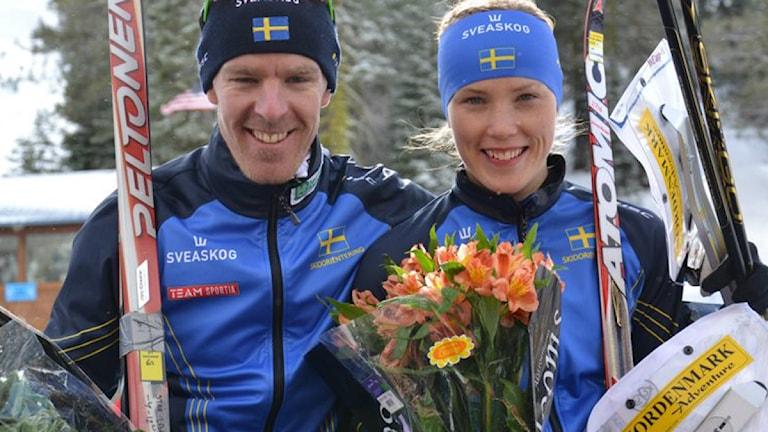 2012-02-21 Skidorientering. Peter Arnesson och Tove Alexandersson. Foto: Orienteringförbundet