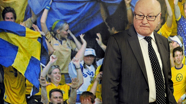 STOCKHOLM 20120221 Fotbollförbundets avgående ordförande Lars -Åke Lagrell var med när fotbollstruppen till bortalandskampen mot Kroatien i Zagreb presenterades i Stockholm på tisdagen. Foto: Tomas Oneborg / SvD / SCANPIX.