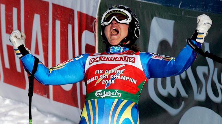 20070202 Sveriges Anja Pärson tog guld i damernas Super-G på tisdagen vid Alpina VM i Åre.