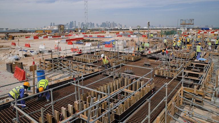 Arena under byggnad i Qatar.