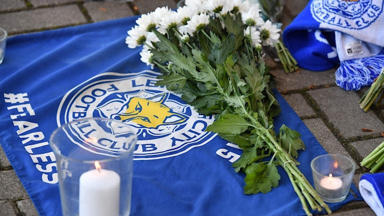 Blommor utanför Leicesters arena.