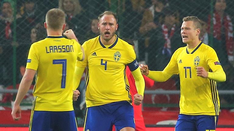 20181117 Sveriges Andreas Granqvist efter straffmål mot Turkiet. Foto:  AP/TT