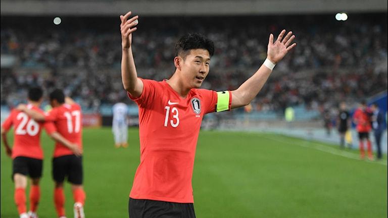 Sydkoreas Son Heung-min i VM-tröjan. Foto: JUNG YEON-JE/TT