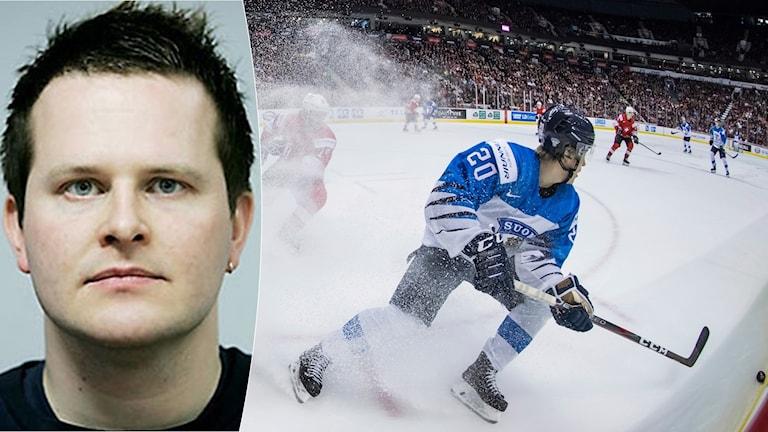 Christoffer Herberts om finsk hockey. Foto: TT, collage SR