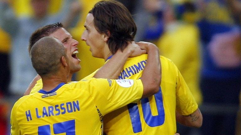 EM 2008  Fotbollslandslagets Henrik Larsson Zlatan Ibrahimovic. Foto: Vadim Ghirda/Scanpix