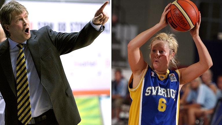 Landslagschefen Jonte Karlsson (t.h.) och basketlandslagets Frida Eldebrink. Arkivfoto: Scanpix.