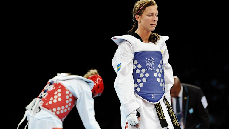 Elin Johansson efter förlusten i OS-taekwondon. Foto: Anders Wiklund/Scanpix.