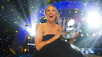 STOCKHOLM 20130114 Lisa Nordén får Jerringpriset under Idrottsgalan i Globen i Stockholm på måndagskvällen. Foto: Fredrik Sandberg / SCANPIX.