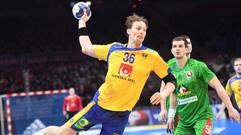 Sveriges Jesper Nielsen i anfall under söndagens åttondelsfinal.
