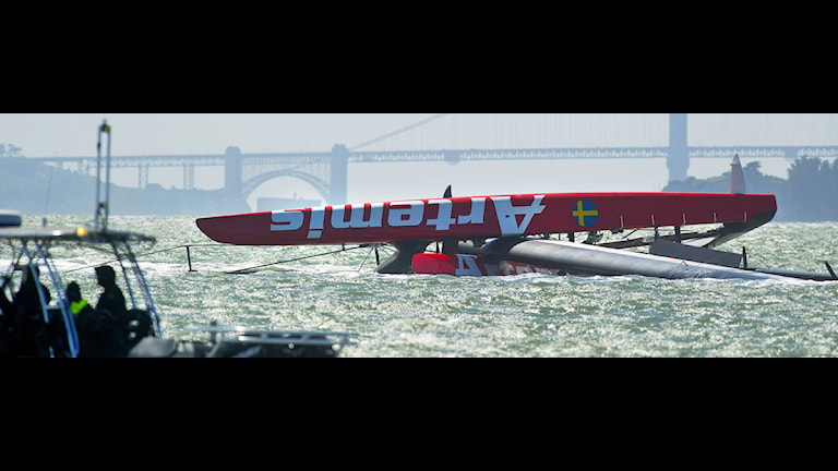 Artemis overturned in the 2013 America's Cup in San Francisco Bay, Photo: Scanpix