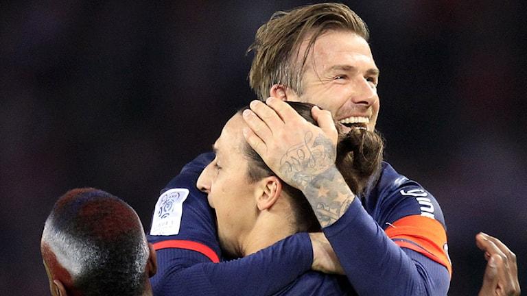 PSG:s David Beckham firar med Zlatan Ibrahimovic efter ligaguldet hemma på lördagen. Foto: Thibault Camus/AP/Scanpix