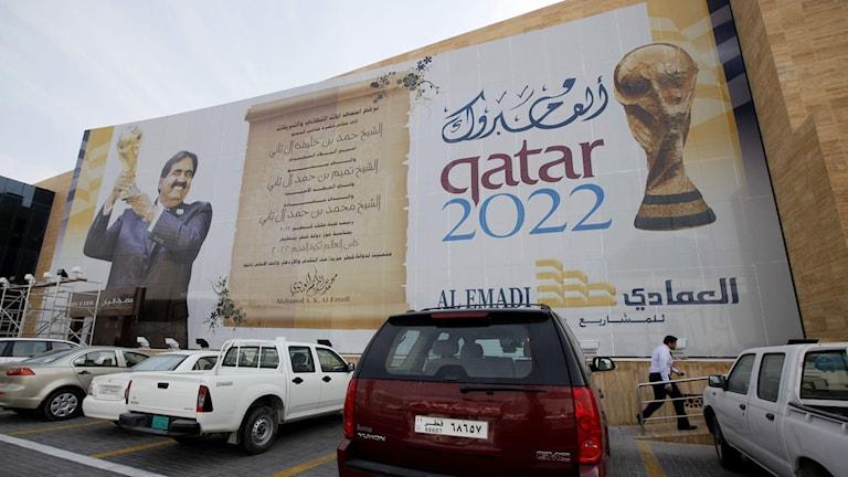 2011 Qatar 2022 World Cup-banner i Doha, Qata. Foto: Kin Cheung/TT