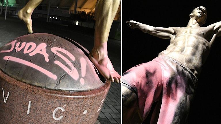 """Statyn föreställande Zlatan Ibrahimovic utanför Stadion i Malmö har återigen blivit vandaliserad. På måndagskvällen hade röd färg målats över shortsen på den guldfärgade statyn och på sockeln hade """"Judas!"""" sprejats."""