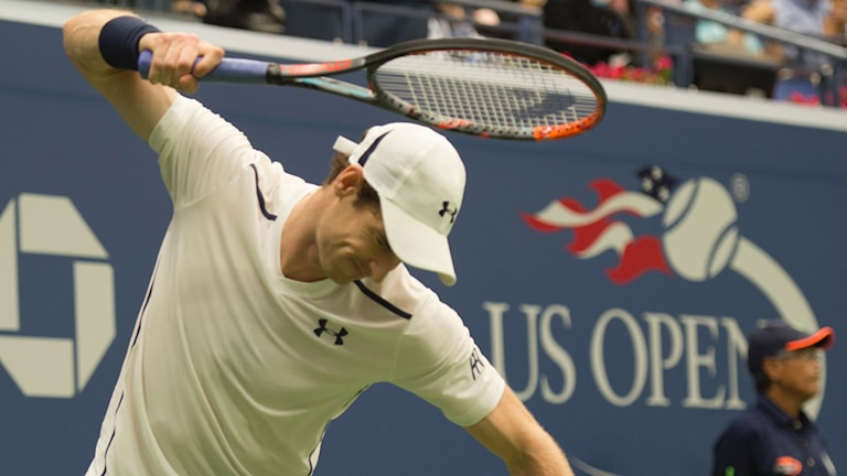 Andy Murray under matchen mot Kei Nishikori.