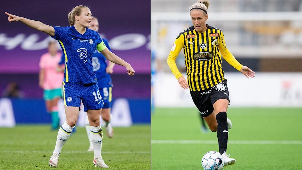Magdalena Eriksson i Chelsea och Emma Kullberg i Häcken