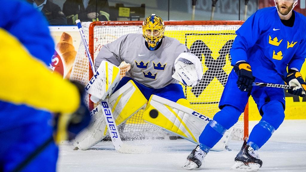 Jacob Markström när Tre Kronor tränade under lördagen i Bratislava.