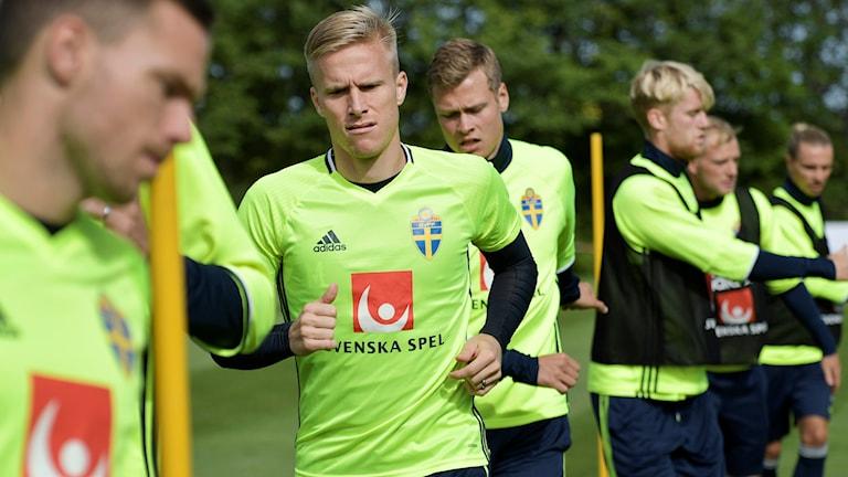 Oscar Wendt under landslagets träning.