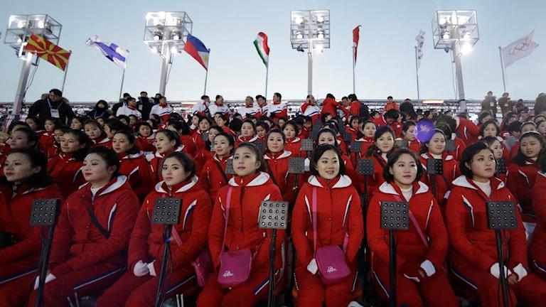 Nordkoreanska truppen inför invigningen.