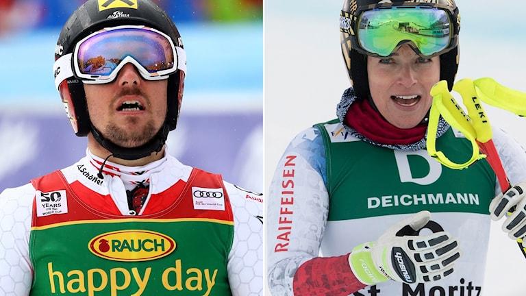 Marcel Hirscher och Lara Gut.