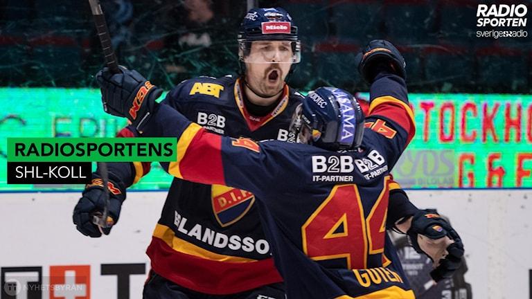 Djurgårdens Patrik Berglund och Mattias Guter jublar