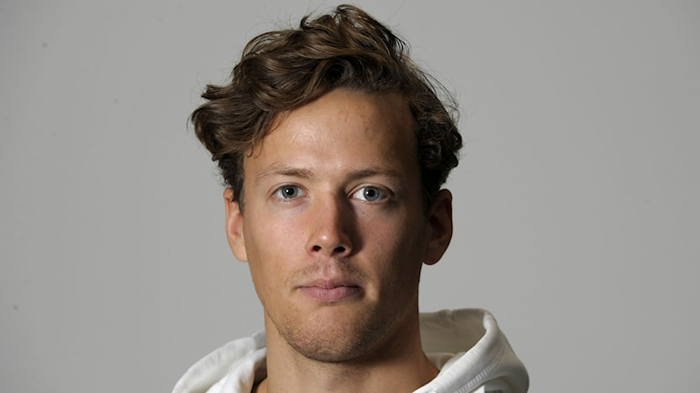 Axel Bäck, alpint vid fredagens pressträff med landslagen inom alpint, freestyle, skicross, snowboard, speedski och telemark. Foto: Janerik Henriksson/TT