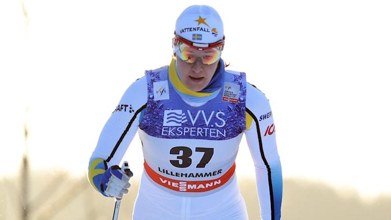Britta Johansson Norgren fra Sverige under kvinnenes 10 km klassisk i verdenscupen på Lillehammer lørdag. Foto: Håkon Mosvold Larsen/NTB scanpix/TT