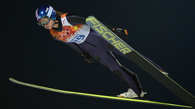 Germany's Carina Vogt competes in the Women's Ski Jumping Normal Hill Individual Trial at the RusSki Gorki Jumping Center during the Sochi Winter Olympics on February 11, 2014 in Rosa Khutor near Sochi . AFP PHOTO / PETER PARKS