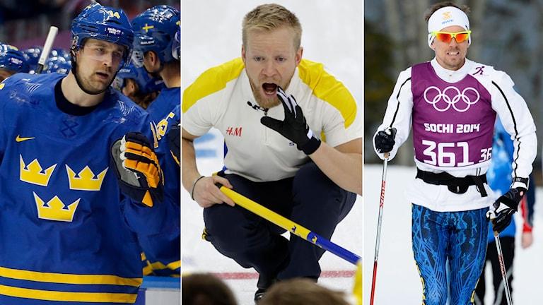 Montage: Tre Kronor, Lag Edin och Johan Olsson tävlar alla 14 februari. Foto: TT/Montage SR