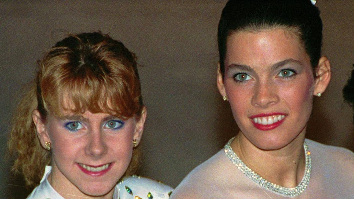 Arkivfoto 1992: Tonya Harding och Nancy Kerrigan. Foto: Phil Sandlin/TT