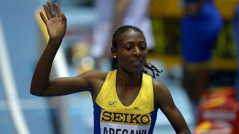 20140307 Abeba Aregawi efter segern i semifinalen. Foto: Johan Eisele/AP photo