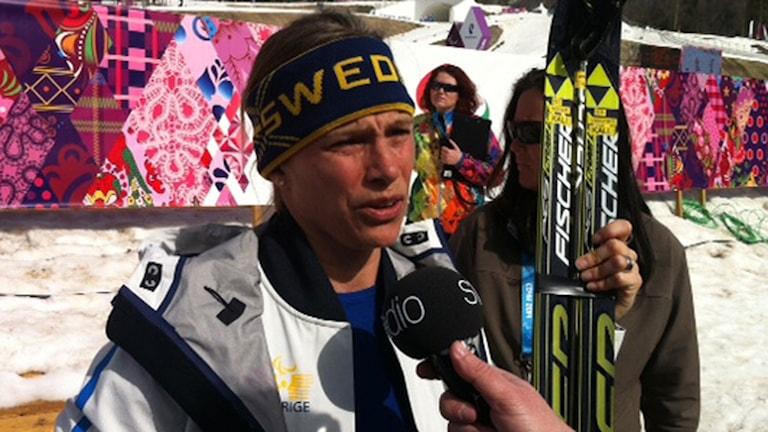 2014, Helene Ripa intervjuas av Radiosporten. Foto: SR
