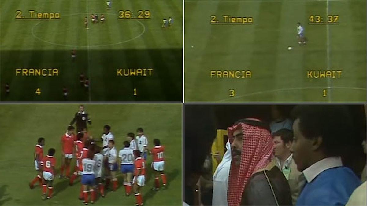 Collage Kuwait-Frankrike VM 1982. Foto: Youtube