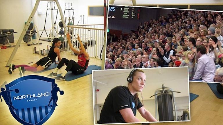 Northland Basket laddar med styrketräning inför finalen. Foton: Hjalmar Lindberg/Sveriges Radio och Alf Lindbergh/Pressbilder. Montage: Sveriges Radio.
