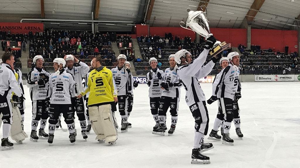 Jubel i Sandviken efter World Cup-titeln.