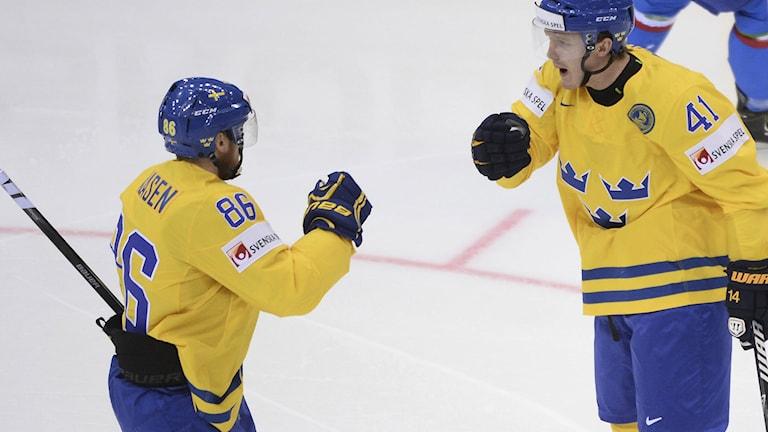 Linus Klasen och Gustav Nyquist. Foto: Fredrik Sandberg / TT.