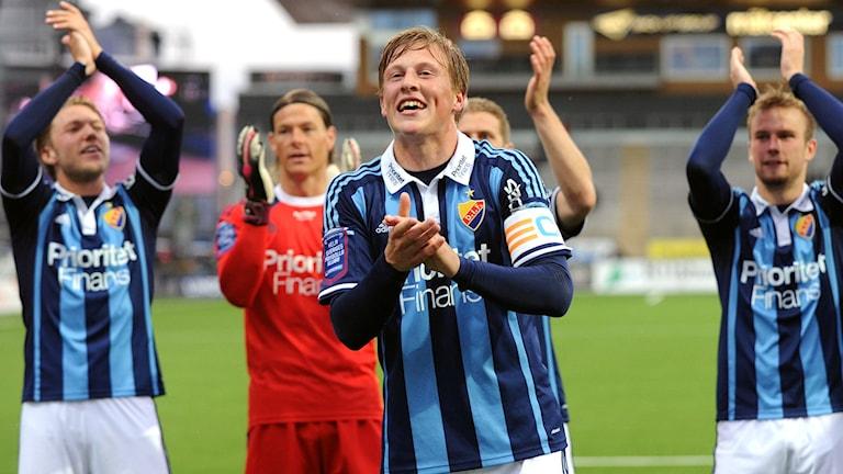 DIF:s Emil Bergström blev matchvinnare i fredagens match mellan Örebro SK och Djurgårdens IF på Behrn arena i Örebro. Foto: Conny Sillén/TT