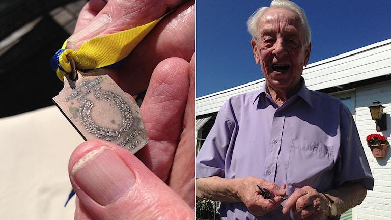 Calle Palmér med VM-bronsmedaljen från 1950. Foto: Andreas Matz/SR.