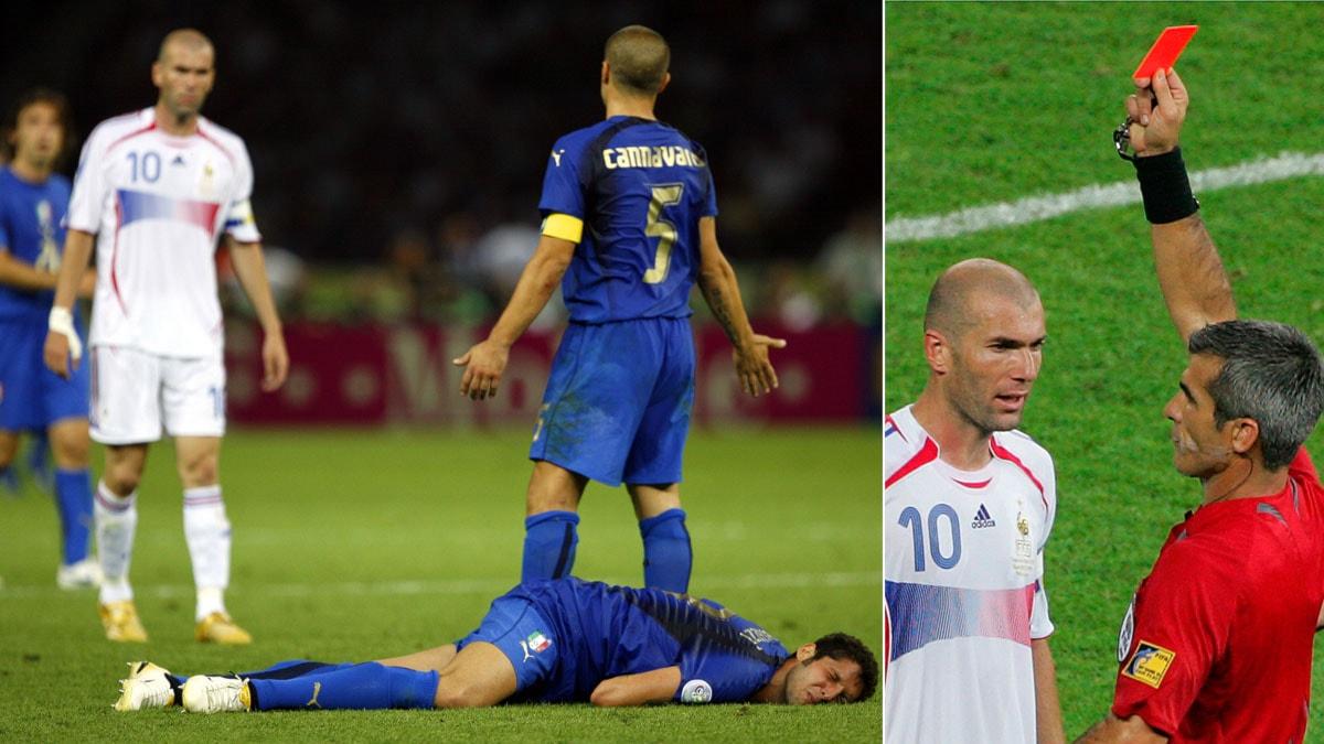 VM 2006 Zinedine Zidane visas ut efter skallning på Materazzi. Foto: TT, collage SR.