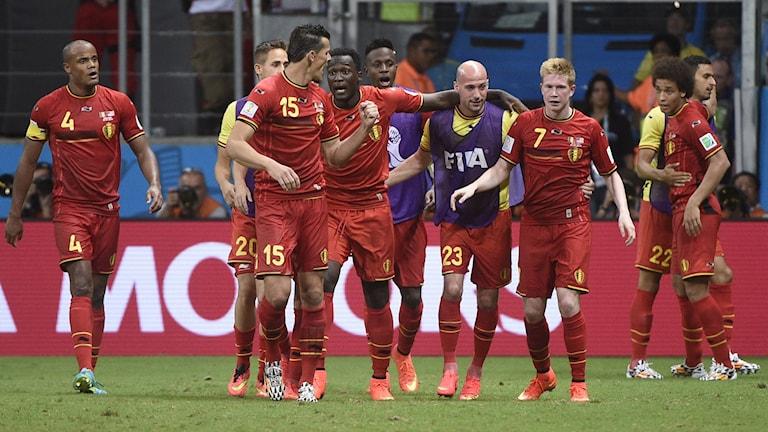 20140702 Belgien firar mål mot USA i åttondelsfinalen. Foto: Martin Bureau/AFP photo