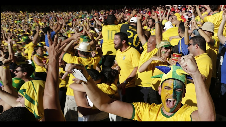 Brazil soccer fans celebrate their team's victory over Chile after a penalty shootout at a World Cup round of 16 match at Mineirao Stadium in Belo Horizonte, Brazil, Saturday, June 28, 2014. Brazil won 3-2 on penalties after the game ended 1-1. AP Photo/Petr David Josek