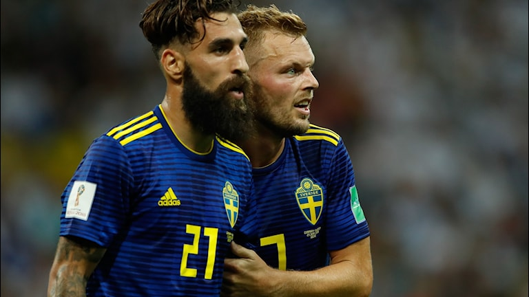 VM 2018 Jimmy Durmaz och Sebastian Larsson. Foto: ODD ANDERSEN/TT